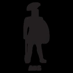 Ares dibujado a mano recortado negro