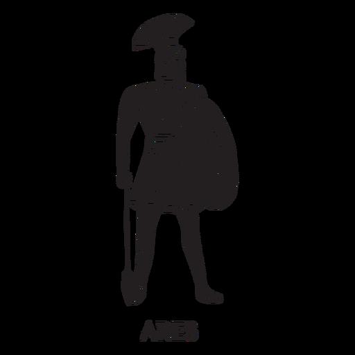 Dibujado a mano Ares cortado negro