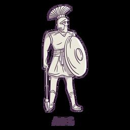 Ares dibujado a mano gris