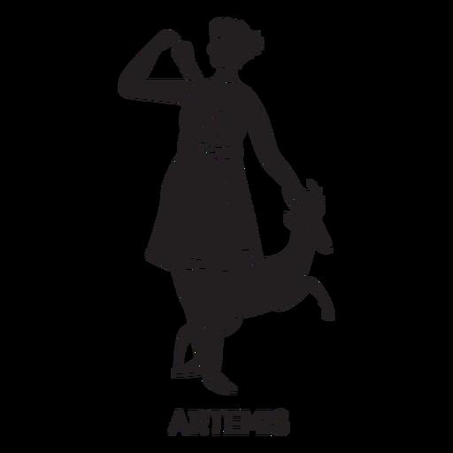 Artemis dibujado a mano recortado negro