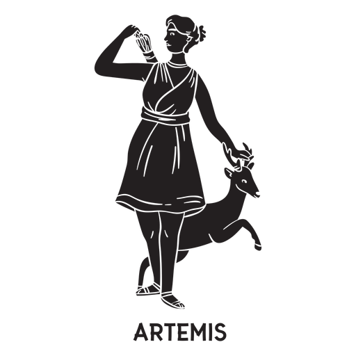 Artemis hand drawn cut out black Transparent PNG
