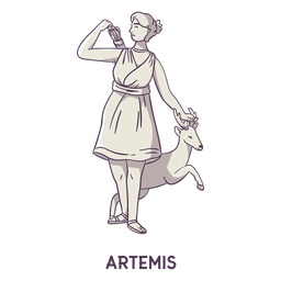 Artemis dibujado a mano gris