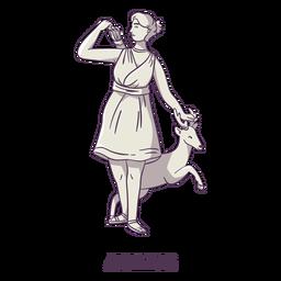 Artemis Hand gezeichnet grau