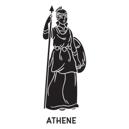 Atenea dibujada a mano cortada en negro