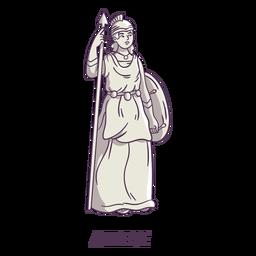 Athena dibujado a mano gris