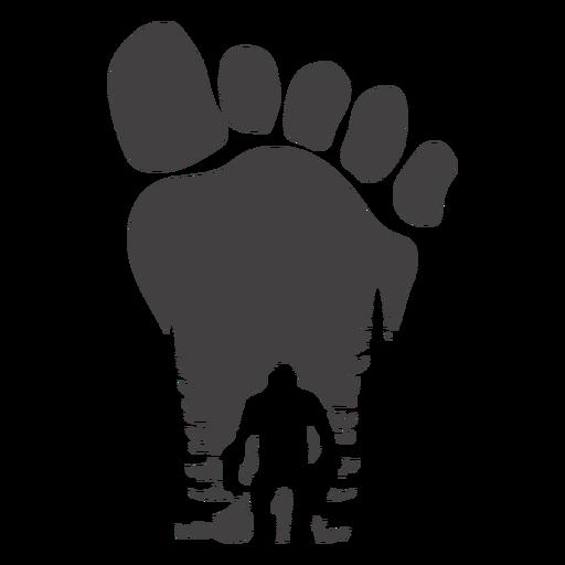 Bigfoot in foot print cut out Transparent PNG