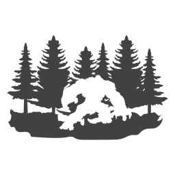 Bigfoot in forest cut out