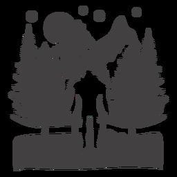 Pé-grande na floresta cortada pela montanha