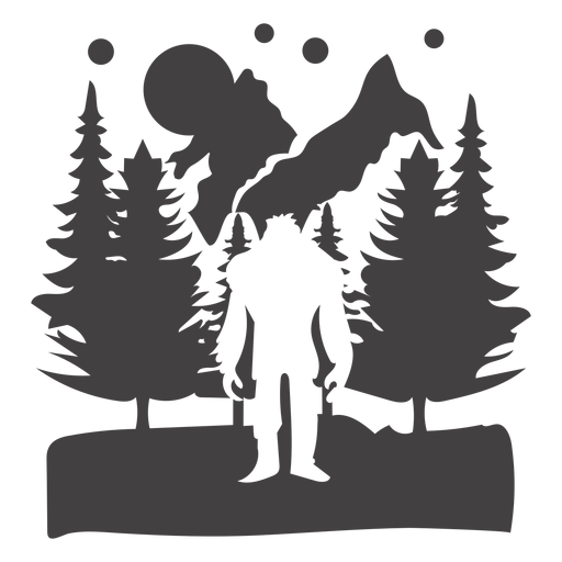 Bigfoot in forest mountain cut out Transparent PNG