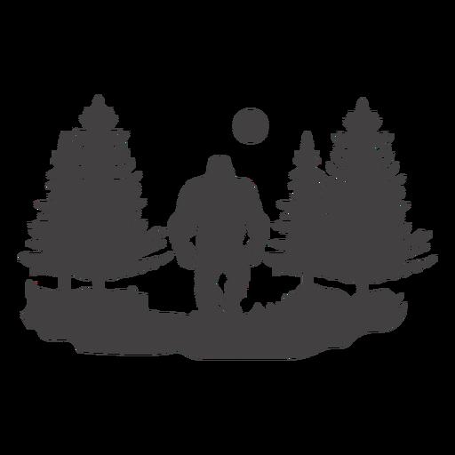 Bigfoot en bosque cortado Transparent PNG