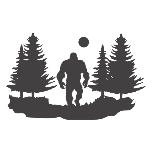 Bigfoot in woods cut out Transparent PNG