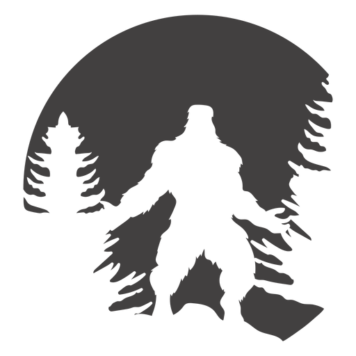 Bigfoot power pose in woods cut out