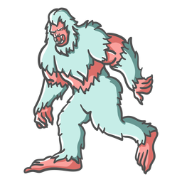 Bigfoot Sasquatch gruñendo caminando