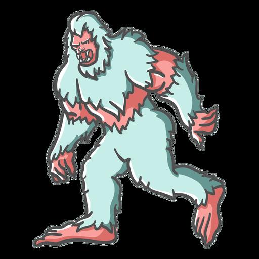 Pé-grande sasquatch rosnando andando Transparent PNG