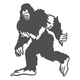 Bigfoot sasquatch growling walking cut out black