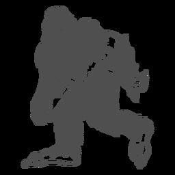 Bigfoot Sasquatch gruñendo caminando cortado negro