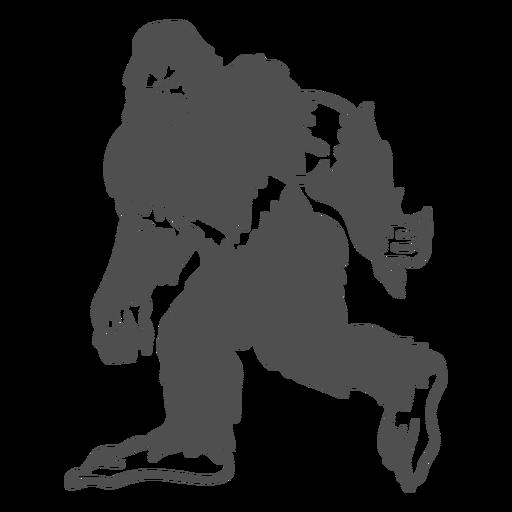 Bigfoot Sasquatch gruñendo caminando cortado negro Transparent PNG