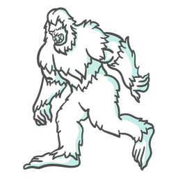 Bigfoot sasquatch growling walking duotone