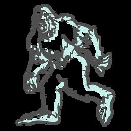 Bigfoot sasquatch gruñendo caminando duotono