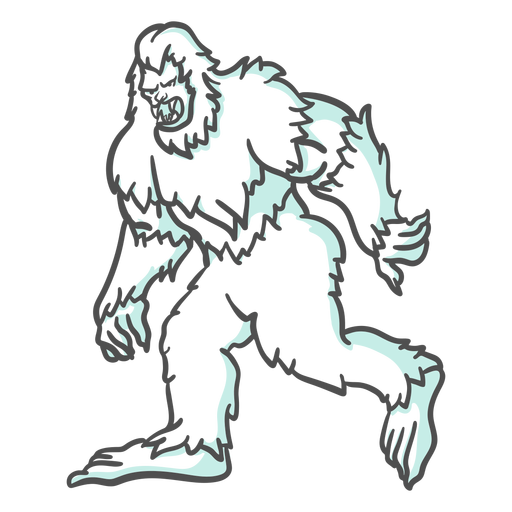 Bigfoot sasquatch growling walking duotone