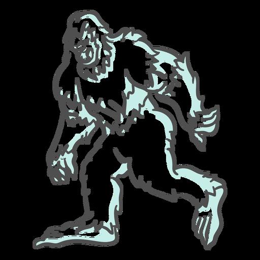 Bigfoot sasquatch gruñendo caminando duotono Transparent PNG