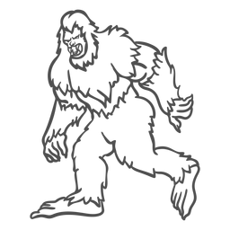 Bigfoot sasquatch growling walking outline