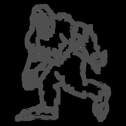 Bigfoot sasquatch gruñendo caminando contorno