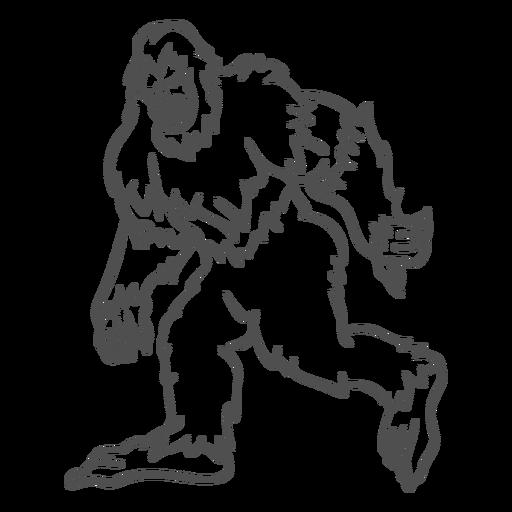 Bigfoot sasquatch gruñendo caminando contorno Transparent PNG