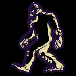 Bigfoot sasquatch caminando duotono