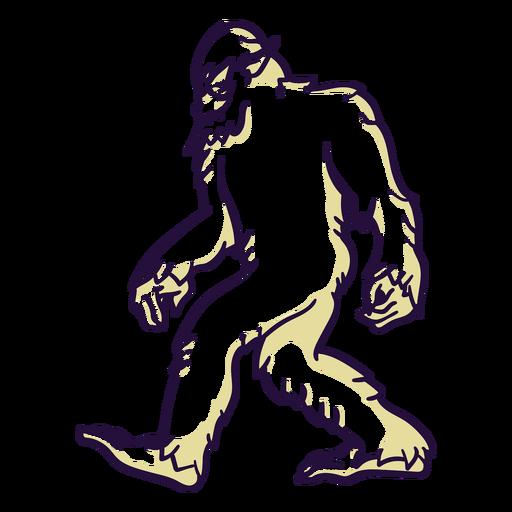 Bigfoot sasquatch caminando duotono Transparent PNG