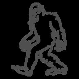 Bigfoot sasquatch caminando contorno
