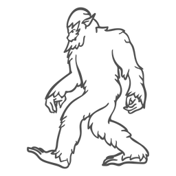 Bigfoot sasquatch walking outline