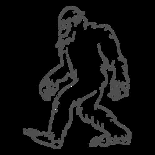 Bigfoot sasquatch caminando esquema Transparent PNG