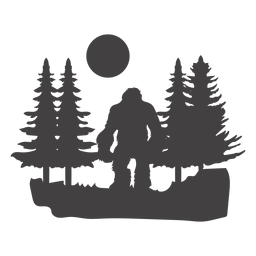 Bigfoot standing in forest cut out