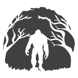 Bigfoot standing in woods cut out