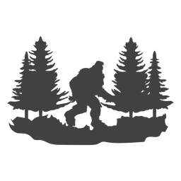 Bigfoot walking in forest cut out