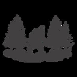 Pé-grande caminhando na floresta cortada