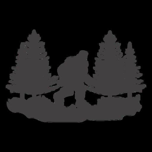 Bigfoot caminando en el bosque cortado