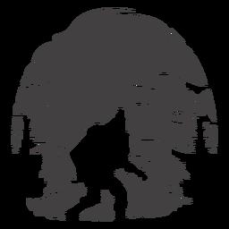 Bigfoot walking in woods cut out