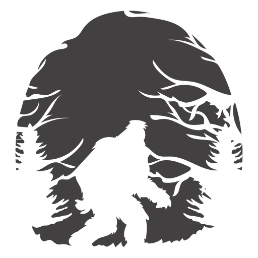 Bigfoot walking in woods cut out Transparent PNG