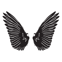 Bird angel wings cut out black