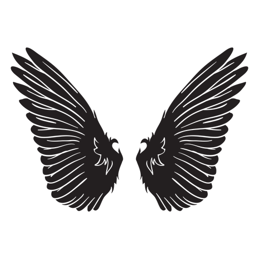 Bird angel wings cut out black