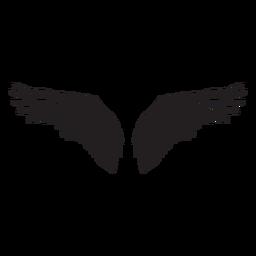Alas de ángel pájaro extendidas cortadas en negro