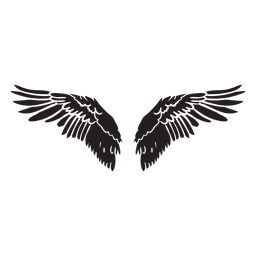 Bird angel wings spread cut out black