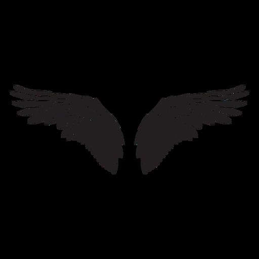 Bird angel wings spread cut out black