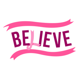 Breast cancer believe ribbon lettering