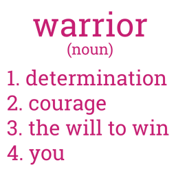 Letras de definição de guerreiro do câncer de mama
