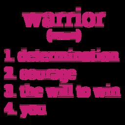 Letras de definición de guerrero de cáncer de mama
