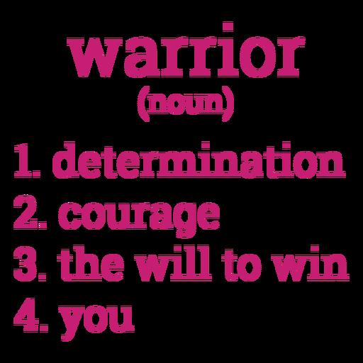 Breast cancer warrior definition lettering