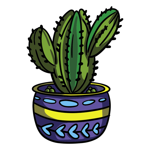 Bulbous cactus plant pot Transparent PNG